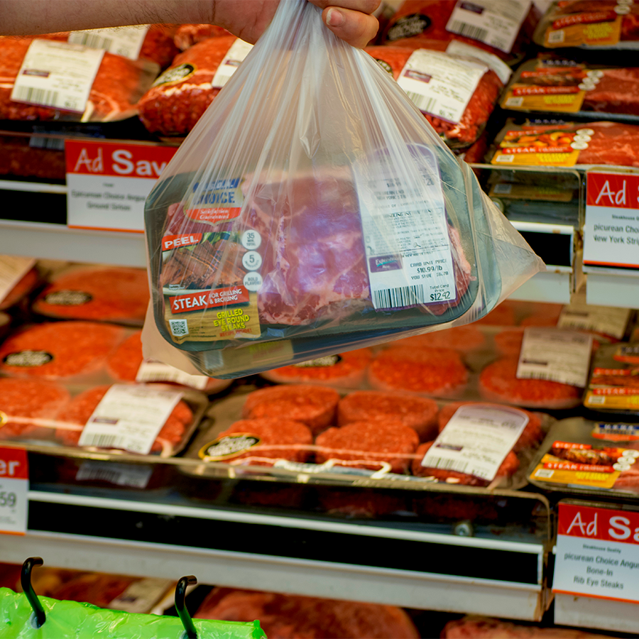 Bag with prepackaged meat in it
